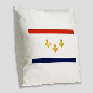 New Orleans Flag Burlap Throw Pillow