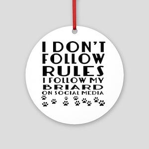 I Follow My Briard Dog Round Ornament