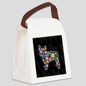 floral french bulldog art Canvas Lunch Bag