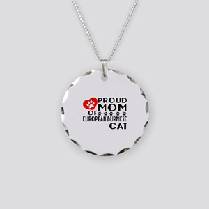 Proud Mom of European Burmes Necklace Circle Charm