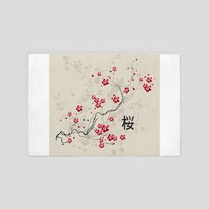 Oriental Style Sakura Cherry Blossom A 4' x 6' Rug