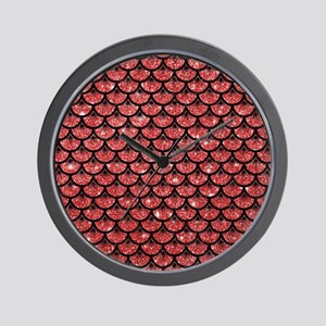 SCALES3 BLACK MARBLE & RED GLITTER Wall Clock