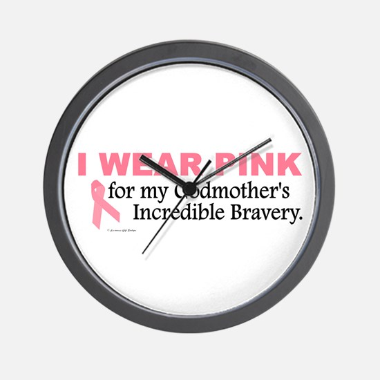 Pink For My Godmother's Bravery 1 Wall Clock