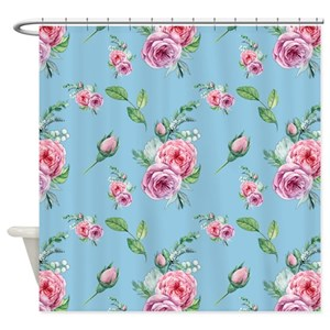 Pink And Green Rose Shower Curtains