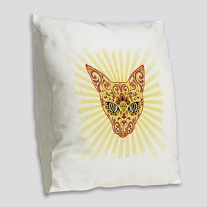 Cool Egyptian style mystic cat Burlap Throw Pillow