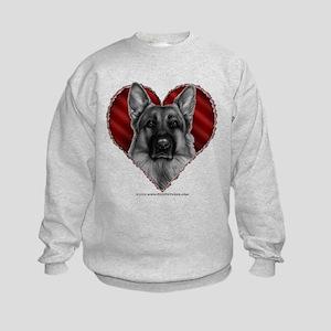 German Shepherd K9 Valentine Kids Sweatshirt
