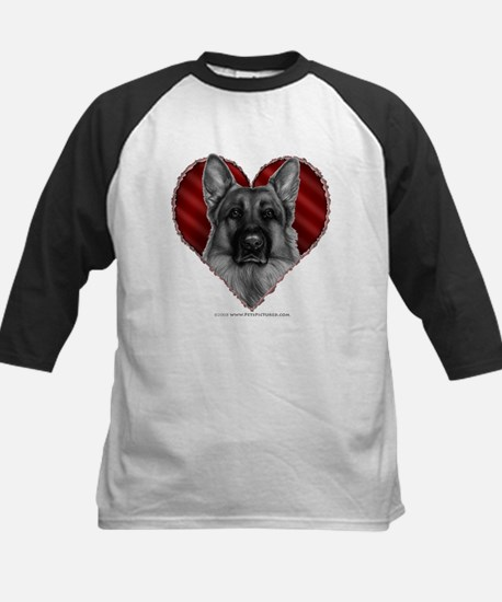 German Shepherd K9 Valentine Kids Baseball Jersey