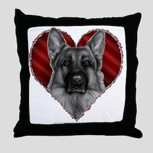 German Shepherd K9 Valentine Throw Pillow