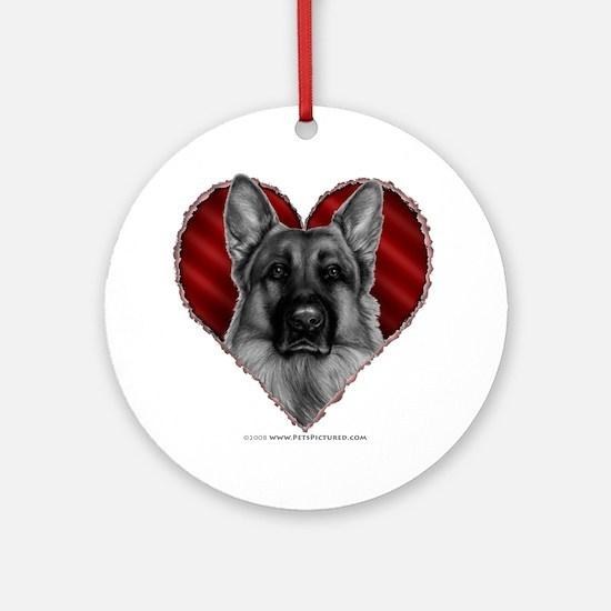 German Shepherd K9 Valentine Ornament (Round)