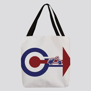 Retro Mod Target and scooter Ar Polyester Tote Bag