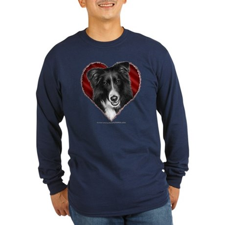Border Collie Valentine Long Sleeve Dark T-Shirt
