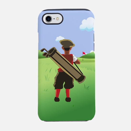 Funny cartoon golfer looking iPhone 8/7 Tough Case
