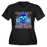 GREASY BOB Women's Plus Size V-Neck Dark T-Shirt