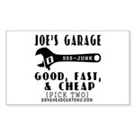 JOES GARAGE Rectangle Sticker