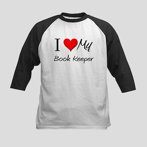 I Heart My Book Keeper Kids Baseball Jersey
