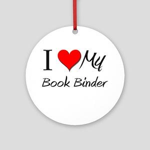 I Heart My Book Binder Ornament (Round)