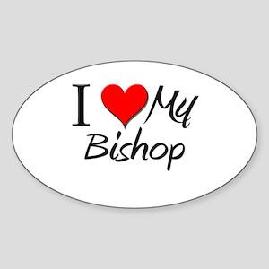 I Heart My Bishop Oval Sticker