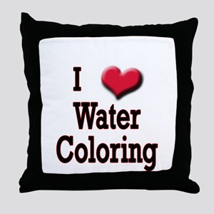 I Love (Heart) Water Coloring Throw Pillow