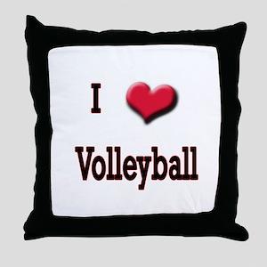 I Love (Heart) Volleyball Throw Pillow