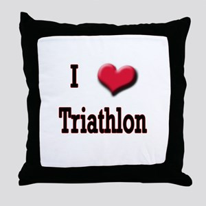 I Love (Heart) Triathlon Throw Pillow