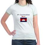 #1 Cambodian Mom Jr. Ringer T-Shirt