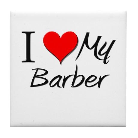 I Heart My Barber Tile Coaster