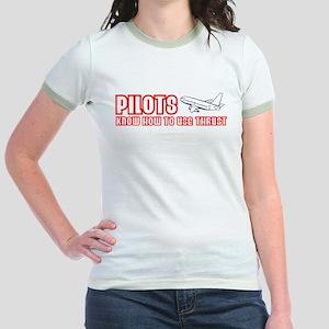 Pilots Use Thrust Jr. Ringer T-Shirt