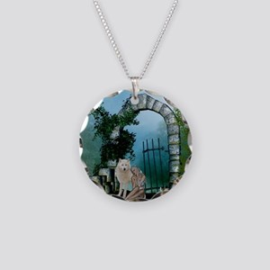 Wonderful fairy with white wolf Necklace