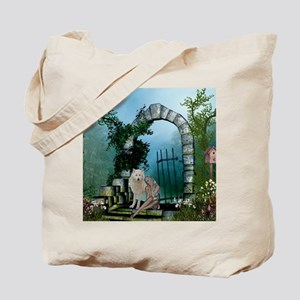 Wonderful fairy with white wolf Tote Bag