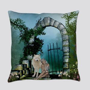 Wonderful fairy with white wolf Everyday Pillow