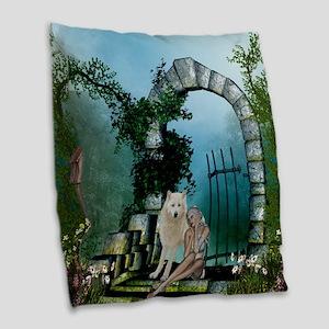 Wonderful fairy with white wolf Burlap Throw Pillo