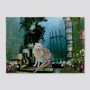 Wonderful fairy with white wolf 5'x7'Area Rug