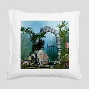 Wonderful fairy with white wolf Square Canvas Pill