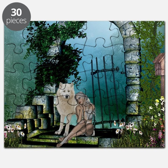 Wonderful fairy with white wolf Puzzle