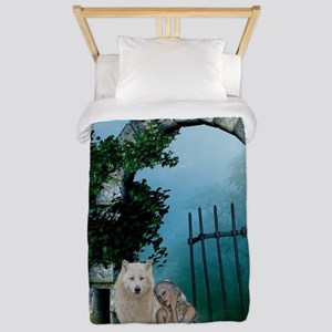 Wonderful fairy with white wolf Twin Duvet Cover