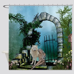 Wonderful fairy with white wolf Shower Curtain