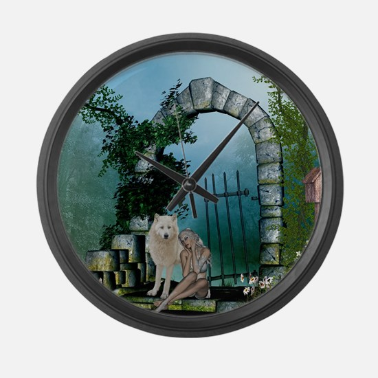 Wonderful fairy with white wolf Large Wall Clock