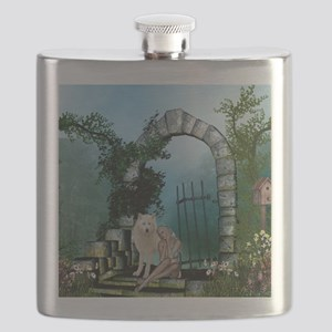 Wonderful fairy with white wolf Flask