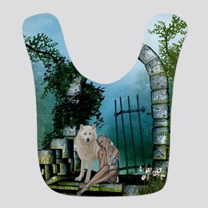 Wonderful fairy with white wolf Polyester Baby Bib