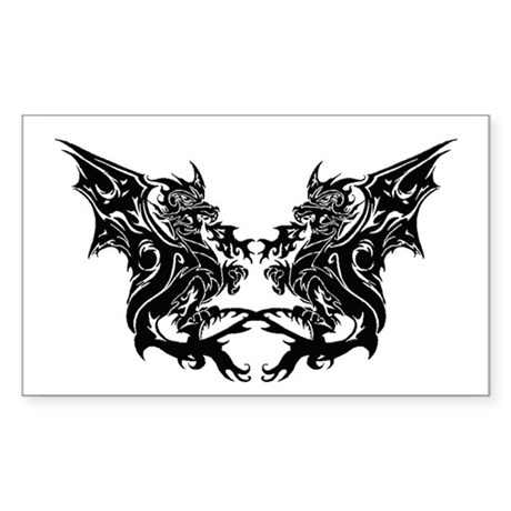 Twin Dragons Rectangle Sticker