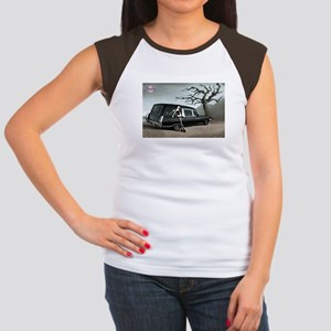 Hearse with Gothic Pin-up Gir Women's Cap Sleeve T