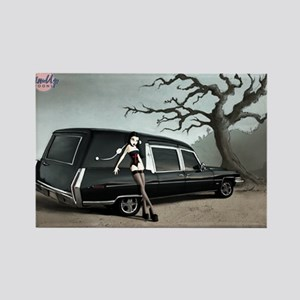 Hearse with Gothic Pin-up Gir Rectangle Magnet