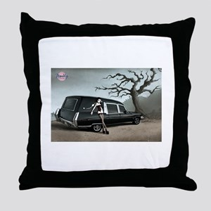 Hearse with Gothic Pin-up Gir Throw Pillow