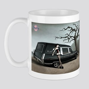 Hearse with Gothic Pin-up Gir Mug
