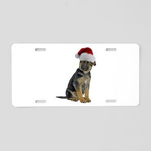 German Shepherd Santa Aluminum License Plate