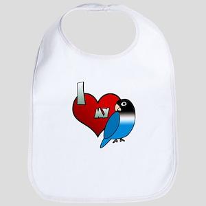 Love Blue Black Masked Lovebird Bib