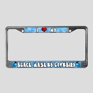 Love Blue Black Masked Lovebird License Plate Fram