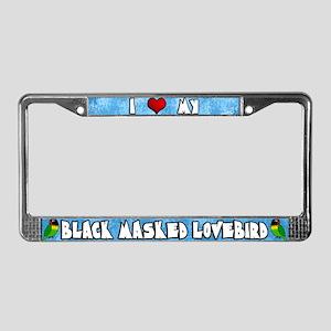 Ctn Love Black Masked Lovebird License Plate Frame