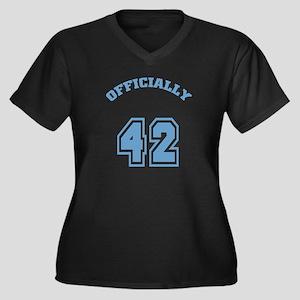 Officially 42 Women's Plus Size V-Neck Dark T-Shir