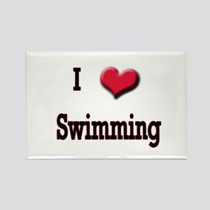I Love (Heart) Swimming Rectangle Magnet